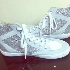 Zara white sneakers with large silver glitter